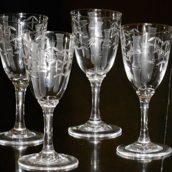 Vintage Noritake Sasaki Etched Bamboo Crystal (4) Aperitif Glasses, Oh So-o Sweet! , A Very Lovely Way To Make Your Guests Feel Special!