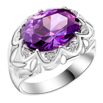 Silver Plated Flower Engagement Paved Purple CZ Diamond Big Ring