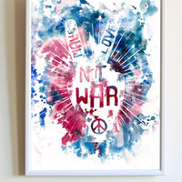 Inspirational Quote Print Make Love Not War Saying Peace Hippie Typography Watercolor Poster Bedroom Wall Art Decor