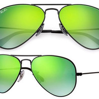 Ray Ban Aviator RB3025 Sunglasses 002/4j Black with Green Flash Gradient Lens