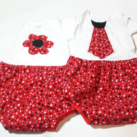 Twin Boy and Girl Outfits - Twin Diaper Covers and Bodysuit Sets - Matching Twin Outfits - Twin Baby Gifts