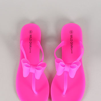 Wild Diva Lounge Neon Jelly Layered Bow T-Strap Flat Sandal