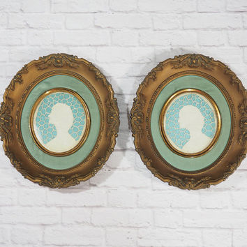 Antique Pair of French Cameo Cutwork Portraits by Cameo Creations / Vintage Home Decor Ornate Wall Art