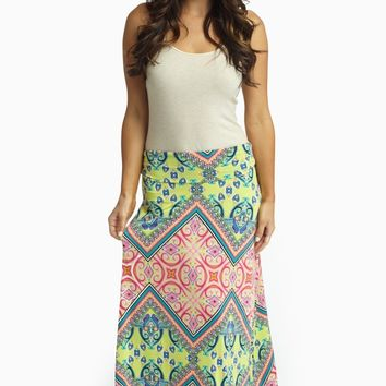 Yellow Vibrant Multi-Color Printed Maxi Skirt
