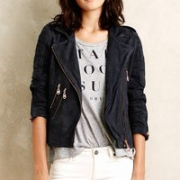 Doma Oxford Leather Moto Jacket in Navy Size: