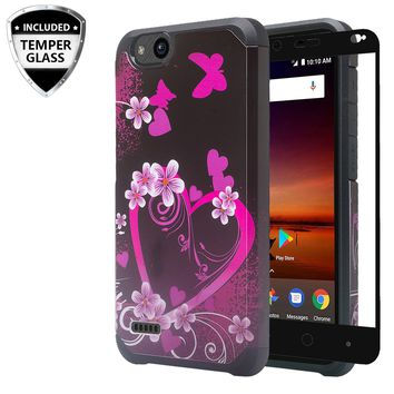 ZTE Tempo X Case, Tempo Go, Blade Vantage, Avid 4, ZFive C, ZFive G, N9137, Z557BL, Z558VL,[Include Temper Glass Screen Protector] Slim Hybrid Dual Layer [Shock Resistant] Case for Tempo X - Heart Butterflies