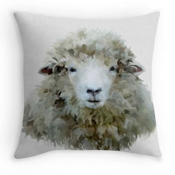 Sheep Throw Pillow, Farm Yard Decor, Country Garden Scatter Cushion, 16x16, Kitchen Decor, Neutral Colour Cushion Cover