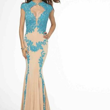 Jovani - High Neck Lace Embellished Nude Mermaid Evening Dress 89902
