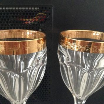 Czech bohemia glass - Wine glasses 18cm decorated gold  2pc