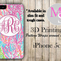 Monogram iPhone 5C Case Personalized Phone Case Lilly Pullitzer Inspired Monogrammed iPhone 5C Hard Slim Case, iPhone 5C Tough Case #2196