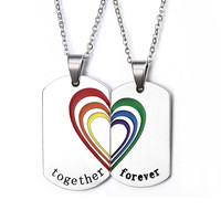 Lover's Rainbow Puzzle Heart Choker Necklace Set for Woman Men Stainless Steel Pendant Gay & Lesbian LGBT Pride Jewelry