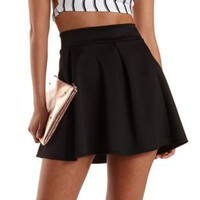 Black Pleated Skater Skirt by Charlotte Russe