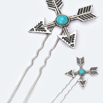 Set of 2 Turquoise Arrow Hair Pin