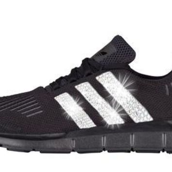 SALE - Adidas Swift Run + Swarovski Crystals - Triple Black