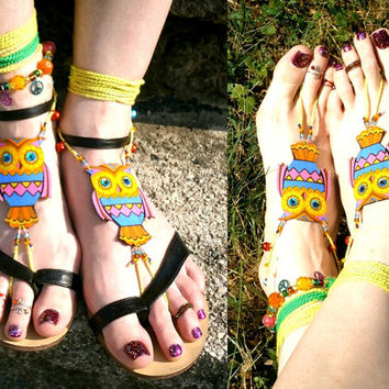 Owl Barefoot Sandals - Handmade Bohemian Cotton Fabric Jewelry - M1 Model