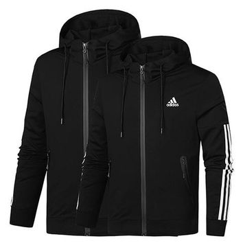 ADIDAS 2019 new tide brand hooded cardigan men and women models pullover sweater Black