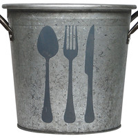 Flatware Metal Bucket, Storage Boxes & Bins