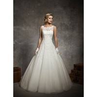 Lace and Tulle Sabrina Neckline A-line Wedding Dress - Star Bridal Apparel