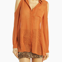 Panel Shoulder Blouse with Tail in Orange Rust