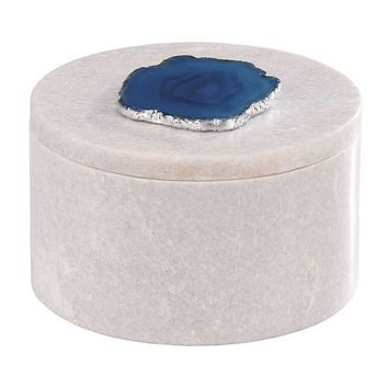 Dimond Antilles Round Box w/ Blue Agate | New Decor | What's New! | Candelabra, Inc.