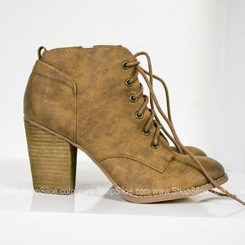 Lace Up Distress Lucy Booties