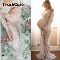 Lace Dresses Maternity Photography Props Pregnant Evening Dress Gown Hollow Out Beach Clothes