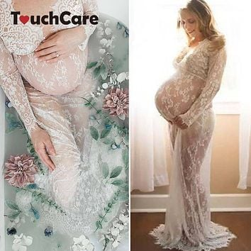 Touchcare Lace Dresses Maternity Photography Props Transparent Pregnant Evening Dress Photo Shoot Gown Hollow Out Beach Clothes