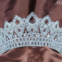 Butterfly Wedding Bridal Tiaras Pageant Handmade Crowns Rhinestones Crystal Prom Party Silver Headbands Luxury Hair Jewelry