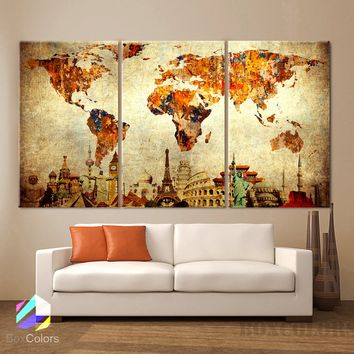"LARGE 30""x 60"" 3 Panels 30""x20"" ea Art Canvas Print Original Wonders of the world Old Paper Map vintage Wall decor Home interior (framed 1.5"" depth)"