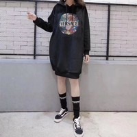 """""""Versace"""" Women Casual Fashion Velvet Personality Letter Pattern Medium Long Section Long Sleeve Thickened Hooded Sweater Dress"""