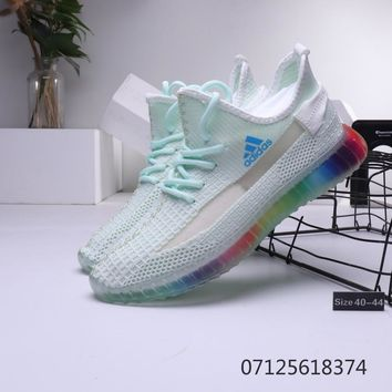 adidas Yeezy Boost 350 V2 Mint Green Rainbow Sole Running Shoes - Best Deal Online