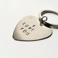 SALE I Love You Keychain Hand Stamped Silver Guitar Pick Custom Personalized Mens Man Women Dude Guy Anniversary Birthday Mother's Day Gift