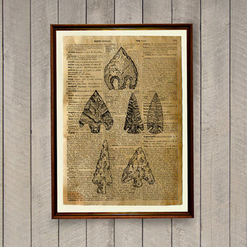 Arrowheads poster Native American decor Tribal print