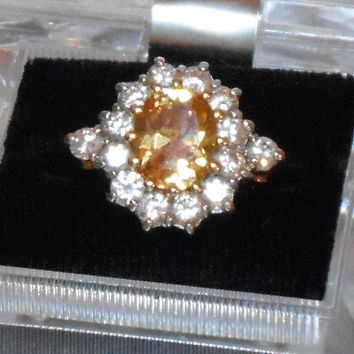 Vintage mid century yellow topaz November birthstone and CZ cocktail ring size 7