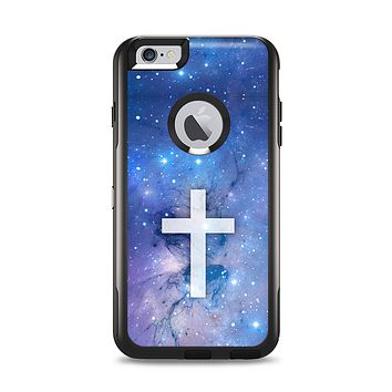 The Vector White Cross v2 over Purple Nebula Apple iPhone 6 Plus Otterbox Commuter Case Skin Set