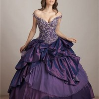 Sexy Deep V- neck Off-the-shoulder Ball Gown Quinceanera Dress QD0104