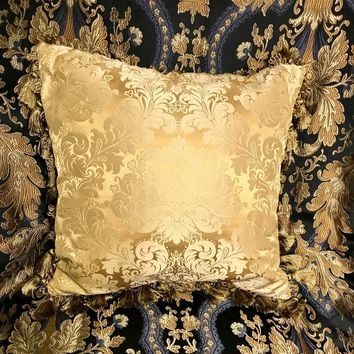 Dragonfly Damask Gold Silk Pillow & Tassles
