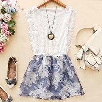 Fanewant — SWEET LACE SLEEVELESS FLOWER DRESS