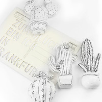 cactus magnets for office or kitchen, succulent illustration magnets for notes