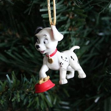 Licensed cool NEW CUSTOM Disney 101 DALMATIANS PATCH DOG with dog bowl Christmas Ornament PVC