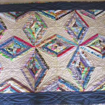 Diamonds and Stars Quilt with Soft Minkee Backing Lap Couch Wheelchair Quilt