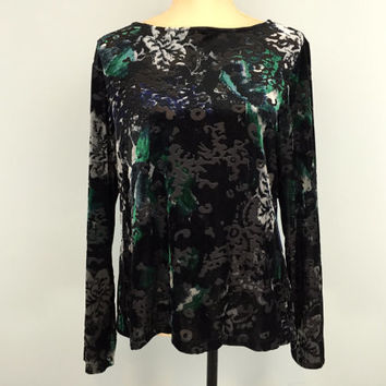 Black Velvet Top Large Long Sleeve Fitted Top Burnout Velvet Blouse Dressy Top Green Silver Black Top FREE SHIPPING Womens Clothing