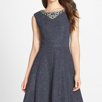 Women's Eliza J Crystal Embellished Metallic Fit & Flare Dress,
