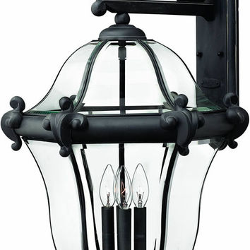 "0-034255>28""h San Clemente 4-Light Extra-Large Outdoor Wall Lantern Museum Black"