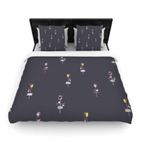 """MaJoBV """"Rosewall / Gray"""" Floral Pattern Woven Duvet Cover"""