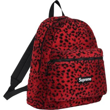 Supreme Leopard Fleece Backpack Red