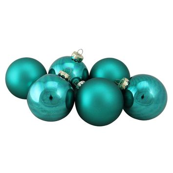 "6-Piece Shiny and Matte Turquoise Blue Glass Ball Christmas Ornament Set 3.25"" (80mm)"