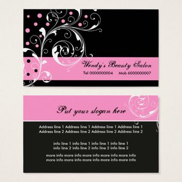 Beauty Salon floral scroll leaf black, pink Business Card