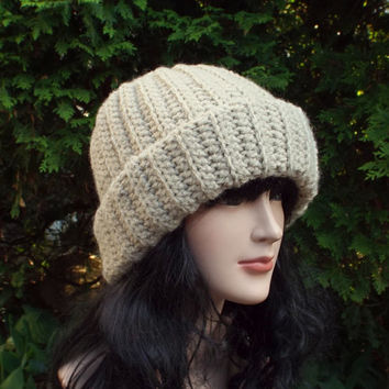 Oatmeal Slouchy Hat - Ribbed Cap - Womens Slouch Beanie - Oversized Beige Chunky Hat - Crochet Long Slouchy Beanie