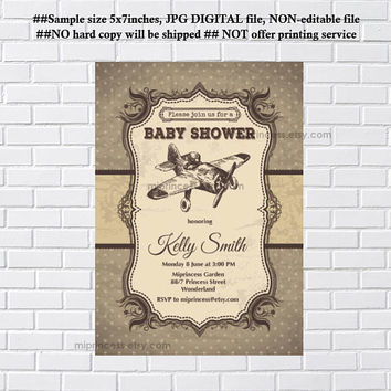 retro airplane baby shower baby boy , invitation Retro Rustic invitation vintage or kids birthday , airplane - card 1173